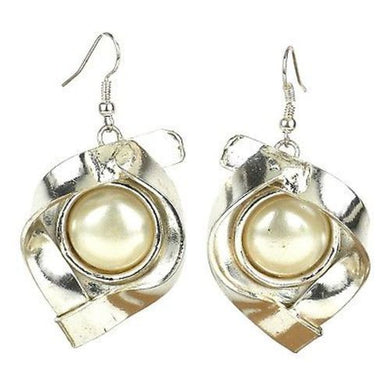 Wrapped Pearl Silverplated Earrings - Brass Images (E)