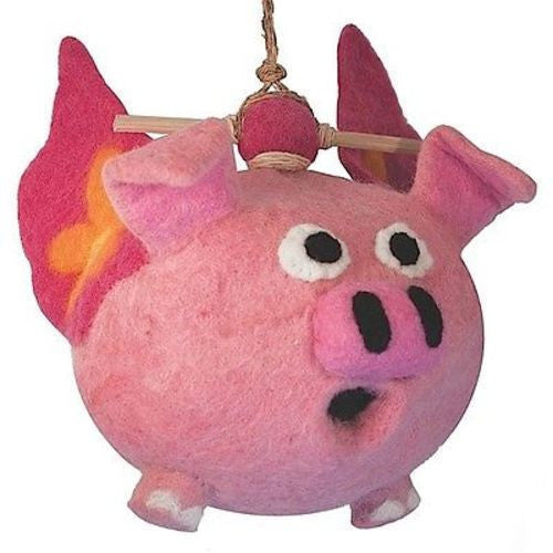 Felt Birdhouse Flying Pig Handmade and Fair Trade