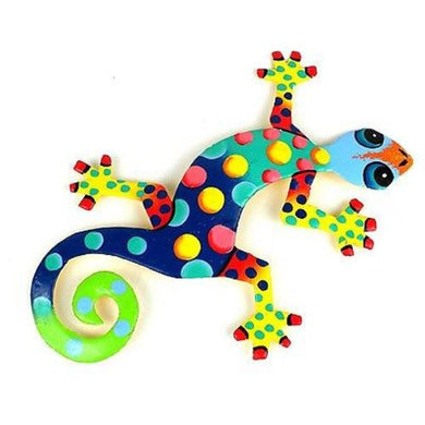 Eight Inch Metal Gecko Florida Design Handmade and Fair Trade