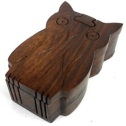 Handcrafted Sheesham Wood Owl Puzzle Box Handmade and Fair Trade