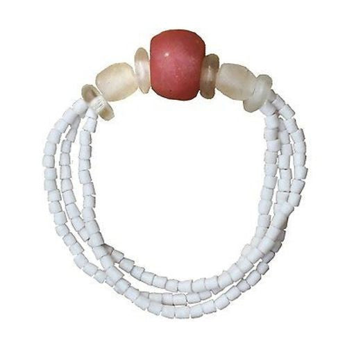 Recycled Pink Poppy Glass Abacus Bracelet Handmade and Fair Trade