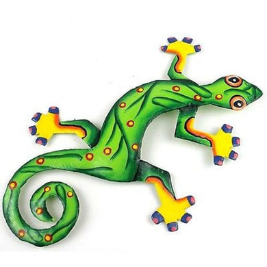 Eight Inch Leaf Green Metal Gecko - Caribbean Craft