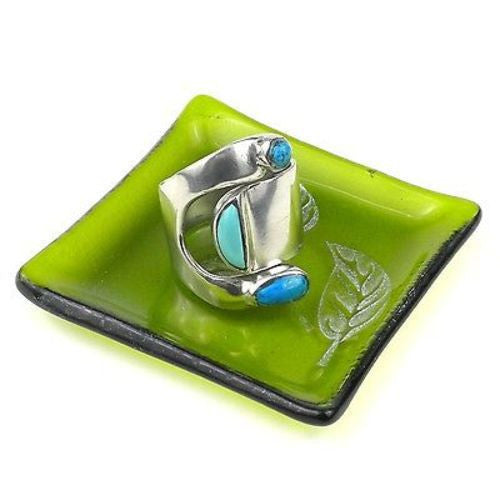 Etched Leaf Recycled Green Glass Ring Tray Handmade and Fair Trade
