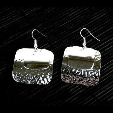 Large Silverplated Double Square Earrings Handmade and Fair Trade