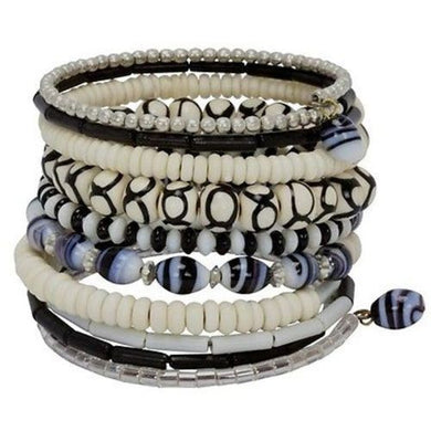 Ten Turn Bead and Bone Bracelet - Black & White Handmade and Fair Trade