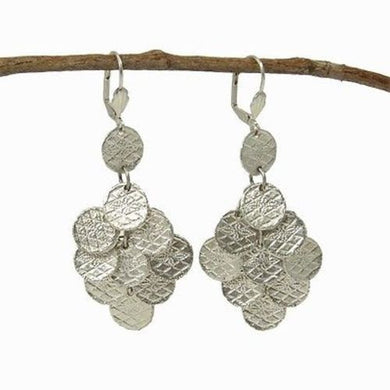Stamped Disk Chandelier Earrings in Silvertone Handmade and Fair Trade