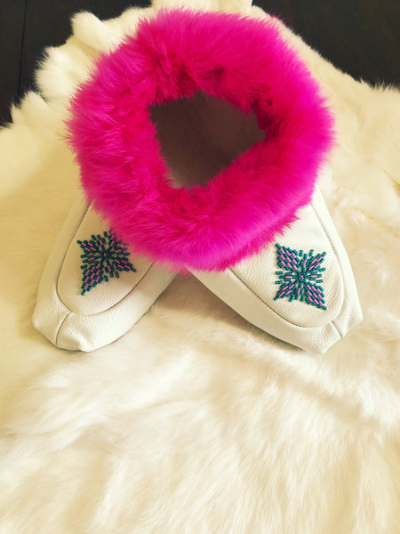 North Star Trading Co. Hand Beaded Leather Slippers with Rabbit Fur