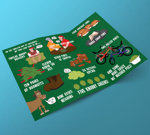 12 days of Nottingham Christmas Card, illustrations, local dialect, east midlands, gifts, card, funny, accent, nottingham