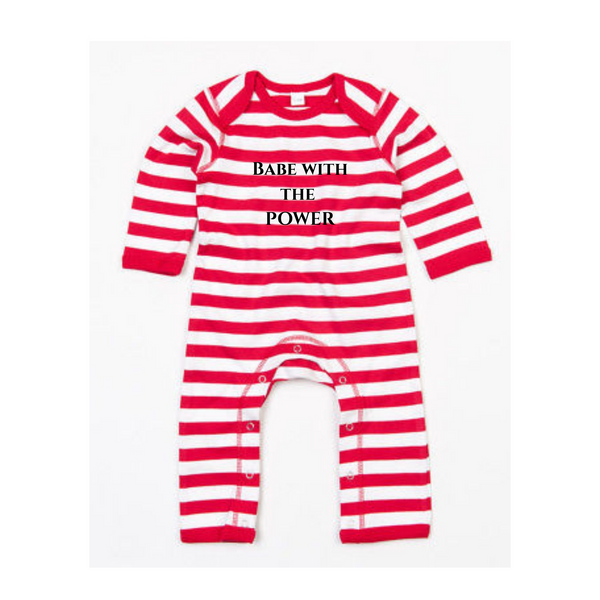Babe with the power red striped onesie