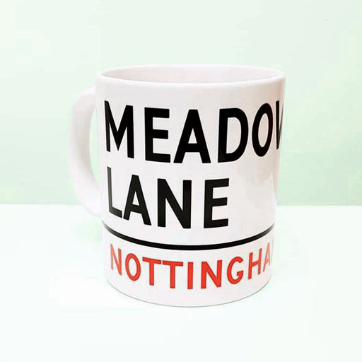 meadow lane mug, street sign design, ng2, notts county, fan, magpies
