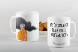 black over bills mother mug, its going to rain, looks dark over there, mug, illustration, homeware, brenda