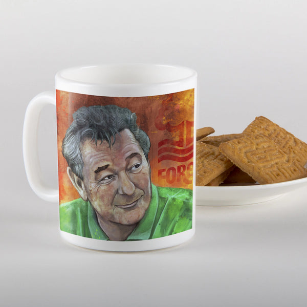 brian clough, mug, nottingham forest football club, illustration, ian jones art