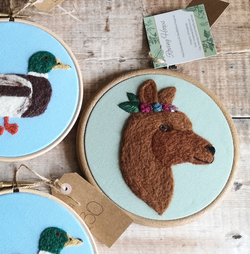 Alpaca needle felted embroidery hoop