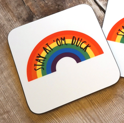 Stay At 'Om, Duck Rainbow Coaster