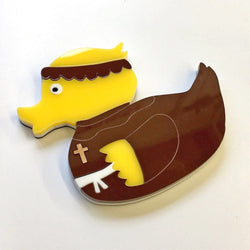 Limited Edition Friar Duck - Acrylic Inlaid Handmade Fridge Magnet