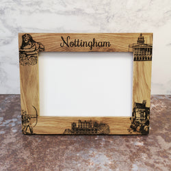 Engraved Nottingham Landmarks Solid Oak Frame