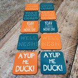 Colour coordinated dialect coasters - set of six
