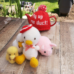 Knitted Toys - Duck with Red Hat