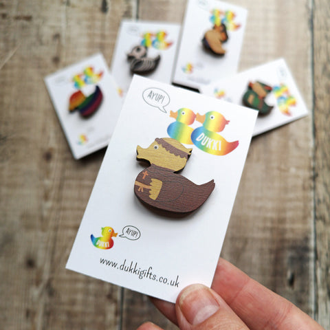 Friar Duck Wooden Pin