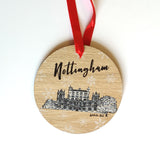 Nottingham Landmarks Wooden Christmas Decorations