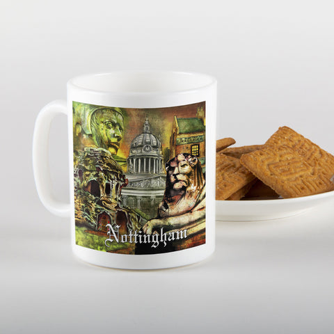 landmarks of nottingham, mug, illustrations by Ian Jones, Local artist, nottingham, gifts, dukki, east midlands, legends, landmarks