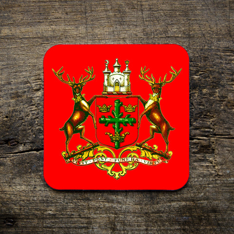 Nottingham crest, red, illustration, two stags and a crown, local icon, nottinghamshire, east midlands