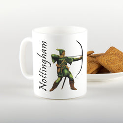 robin hood mug, nottingham down side, legend of nottingham, art by Ian Jones, illustrator, local artist, mug, gifts, east midlands