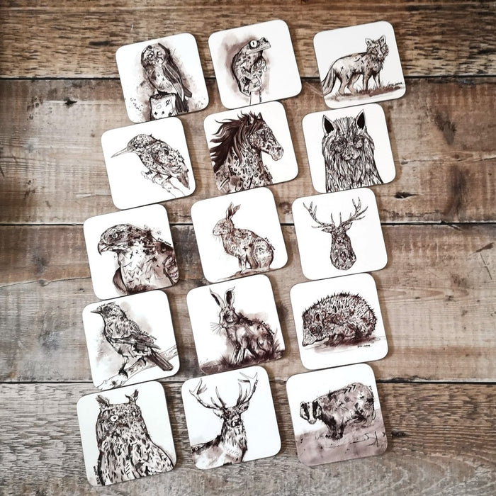 PROFILE OF A STAG COASTER by Ian Jones Art and Illustration