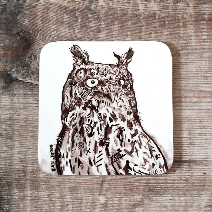 EAGLE OWL COASTER by Ian Jones Art and Illustration