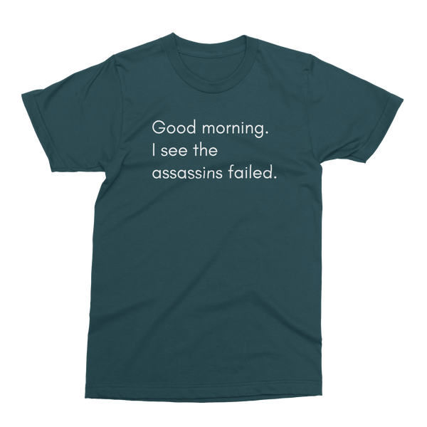 Good morning, I see the assassins failed T-shirt