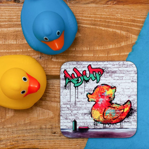 AY UP DUCK GRAFFITI COASTER