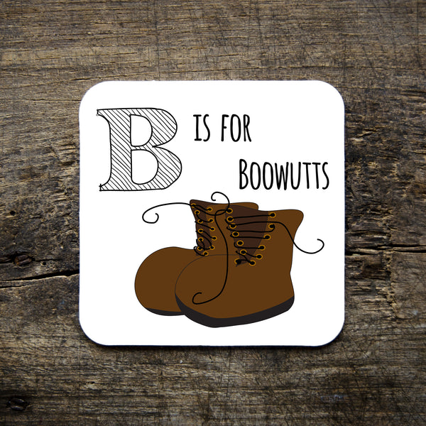 boots, boowutts, b is for boots, coaster, homeware,