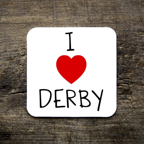 i love derby coaster, white, red heart, type, derby, gifts