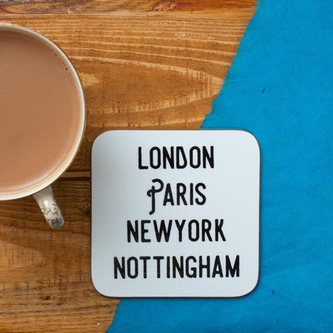 LONDON, PARIS, NEW YORK, NOTTINGHAM COASTER