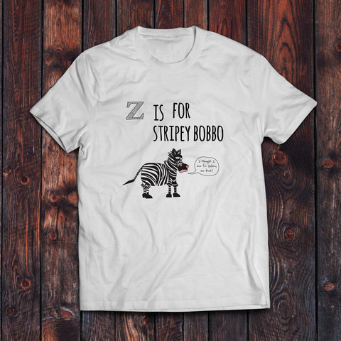 z is for stripey bobbo t-shirt, tshirt, t shirt