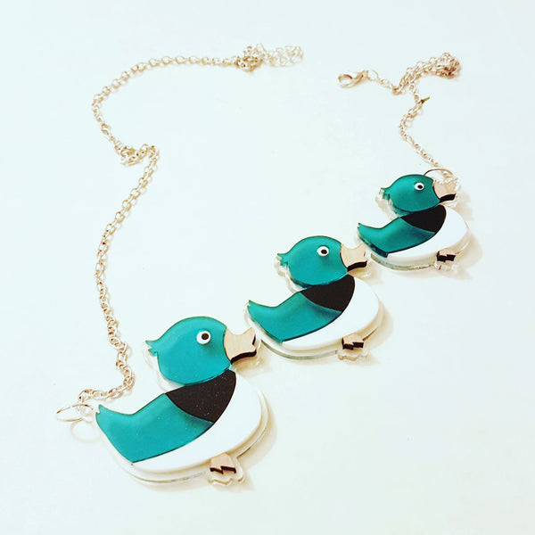 Three Duck Inlaid Acrylic Necklace