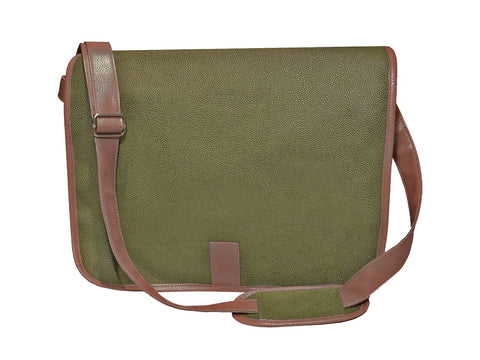 Millwood Green Faux Suede Messenger Bag