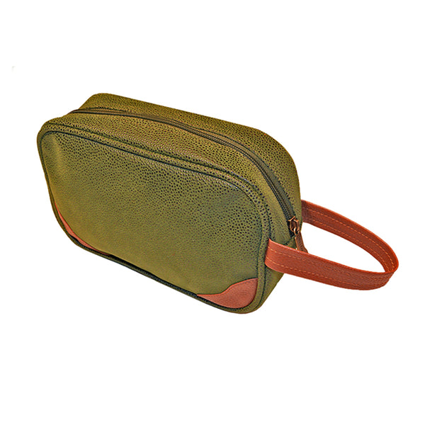 Millwood Green Faux Suede Small Toiletries Kit