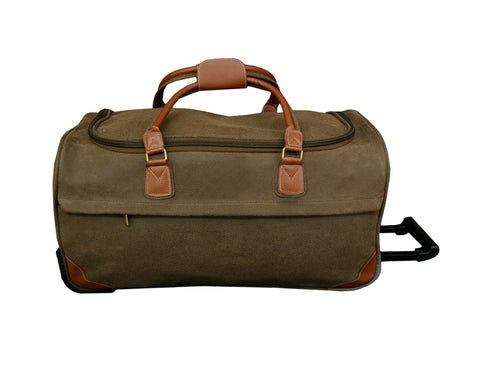 "Brown Faux Suede 26"" Rolling Duffle"