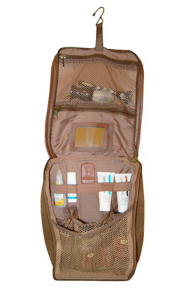 Hanging Toiletry Bag - Brown Faux Suede