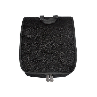 Hanging Toiletry Bag - Black Faux Suede