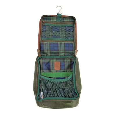 Hanging Toiletry Bag - Millwood Green Faux Suede