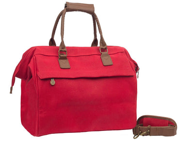 Travel City Bag - Red Faux Suede