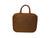 Large Hanging Toiletry Bag - Brown Faux Suede