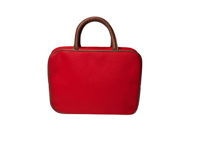 Large Hanging Toiletry Bag - Red Faux Suede