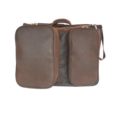 Garment Suitcase - Brown Faux Suede