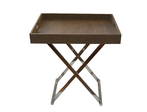 Brown Faux Suede Bar Tray Table with Metal Crossed Legs