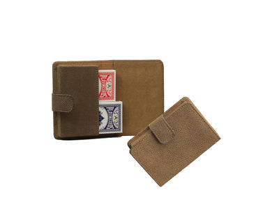 Playing Card Case - Brown Faux Suede