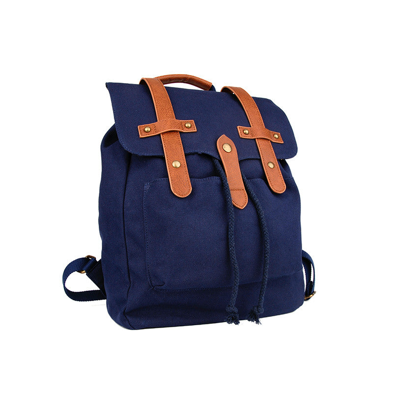 Washed Navy Canvas Backpack