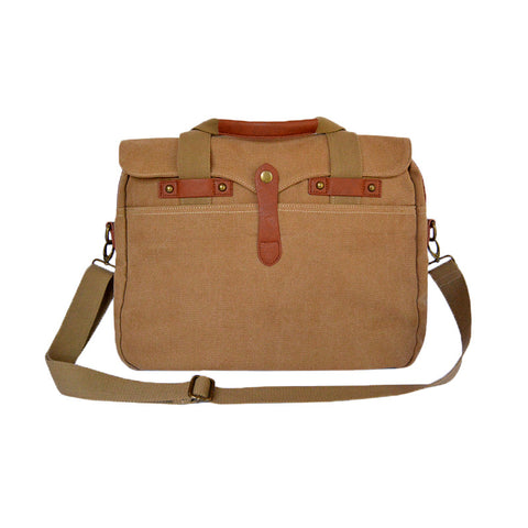 Washed Camel Canvas Briefcase